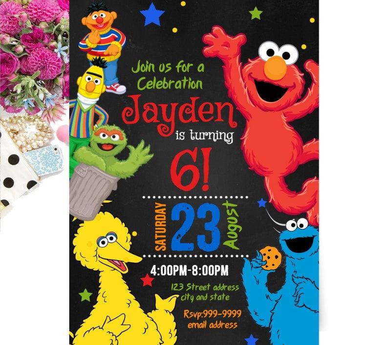 INSTANT DOWNLOAD Sesame Street Invitation