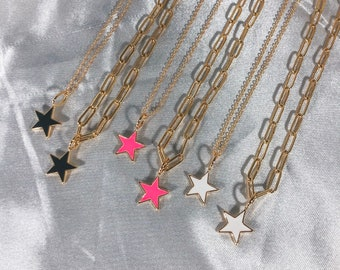 Xileg Vintage Metal Stars Chokers Necklaces for Women Punk Jewelry Gold Link Chain Necklace Stars Pendant Necklace