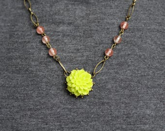 Lime Green Dahlia with Light Pink Bronze Necklace