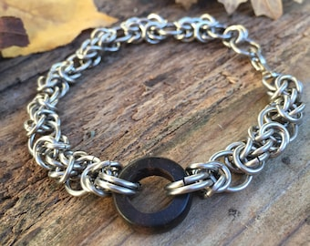 Byzantine Chainmaille Bracelet with Wooden Ring