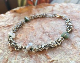 Petite Byzantine Chainmaille Bracelet with Gemstones
