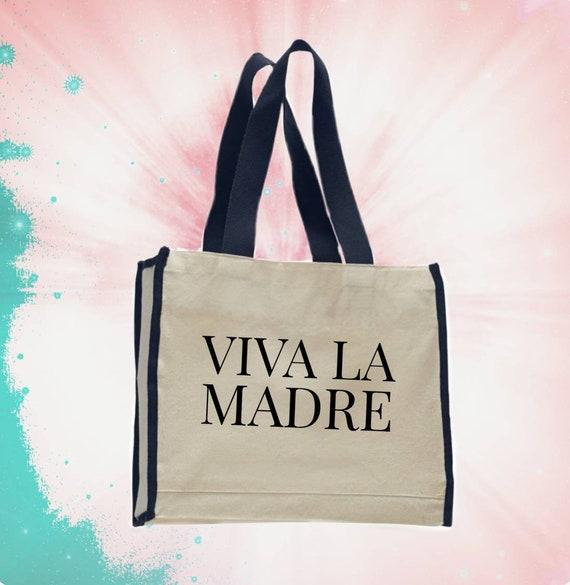 3d2535f740 Viva la madre canvas tote bag with large back pocket and black