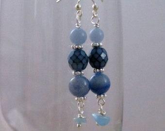 Gemstone Earrings Jeans Jewelry Blue Earrings Beach Earrings Gift for Teen Gift for Friend Gift for Her