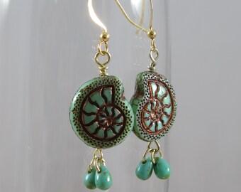 Beach Earrings Seafoam Green Nautilus Earrings Beach Jewelry SeaLife Earrings Nature Lover Earrings Gift for Beach Lover
