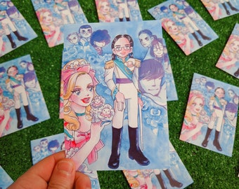 princess jellyfish x rose of versailles postcard print