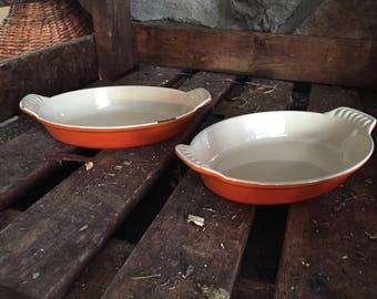 Vintage Le Crueset #20 au gratin pans Fire Orange (set of 2)