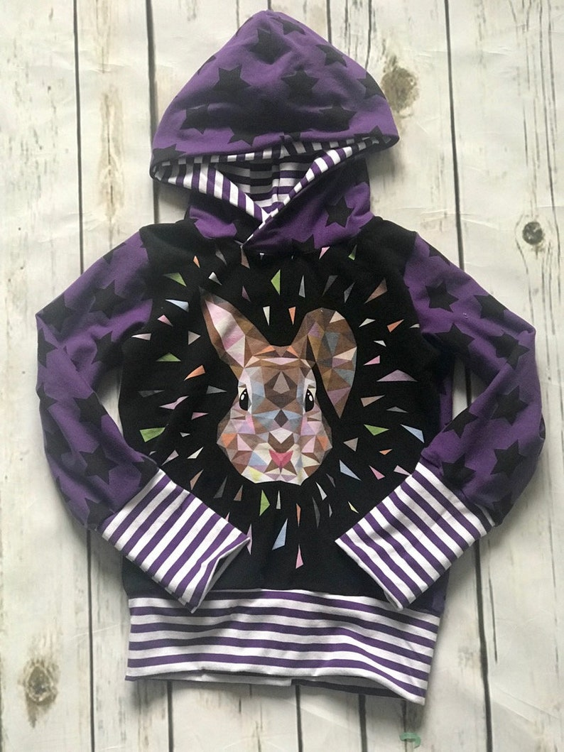 New Geo Bunny grow with me Hoodie size 3-6 years 4 5 purple black stars sweatshirt girl clothes fall winter stripes white sweater