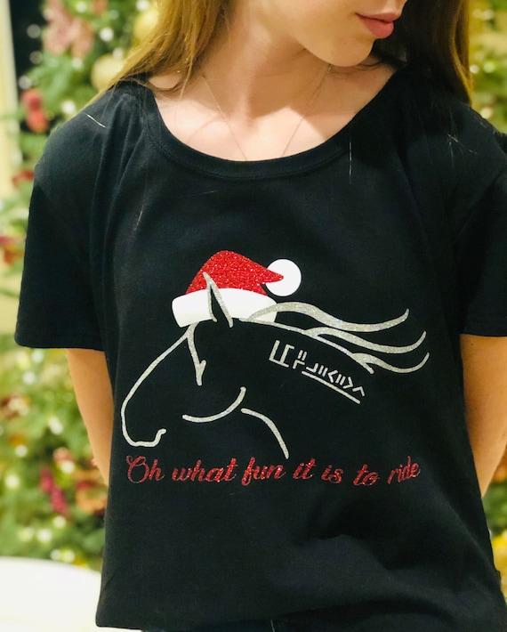 48592b5ae38 Custom personalized BLM mustang horse santa hat bling tee