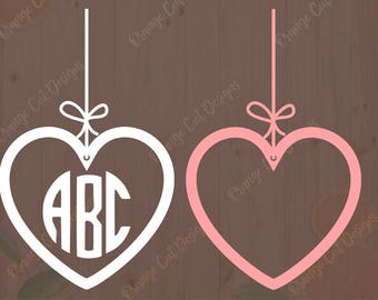 Hanging Heart Svg, Valentine's day Monogram Svg, Valentine cutfile, dxf, eps. Heart Monogram, valentine frame for Cricut and silhouette