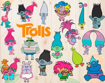 Trolls Svg Characters, Trolls Cut files, Trolls Movie Dxf, Eps, Png files, Poppy & Branch svg for Cricut, Silhouette cameo, Trolls clipart