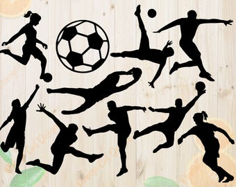 Soccer Svg, Soccer Silhouettes Svg, Dxf, Eps & Png Cutfiles, Soccer players Silhouette files for Cricut, Silhouette cameo, Soccer Bundles