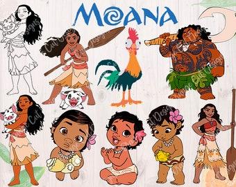 Moana Svg, Baby Moana, Maui Cutfiles: Dxf, Svg, Eps & Png formats, Moana for Cricut, Silhouette cameo, Maui Svg, Moana Clipart, Scrapbooks