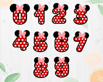 Minnie Numbers Svg, birthday numbers svg, Minnie Birthday numbers cut files, Disney numbers Dxf, Eps, Png files for Cricut & Silhouette came