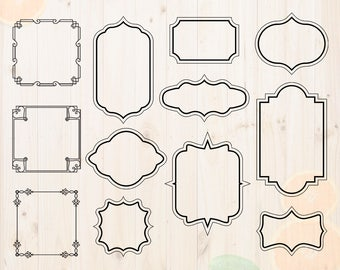 Tags Svg, Label svg, Frame and Borders Cut files, Frames Dxf, Eps & Png files for Cricut or Silhouette. Labels svg, tags for cutting, label