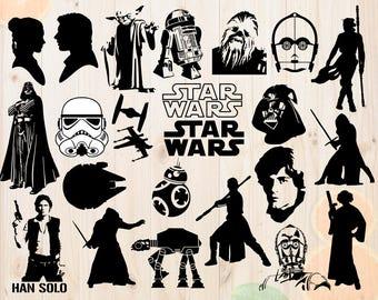 Star wars Svg, Star wars Dxf, Kylo ren Svg, Princess leia Cut file, Darth vader svg, star wars clipart for Cricut & cutting machine, bb8 svg