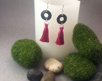 Sterling Silver Earrings with Colorful Tassels