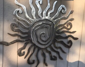 Rustic wall sun decor indoor outdoor sun metal sun art custom sun & Outdoor metal wall art | Etsy