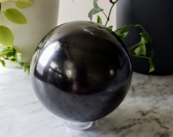 Shungite Crystal Ball   XL Polished Natural Shungite Sphere   Scrying and Divination Tool   Black Stone   EMF Radiation Protection