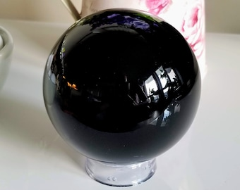 Black Obsidian Crystal Ball   XL Polished Natural Obsidian Sphere   Scrying and Divination Tool   Black Stone