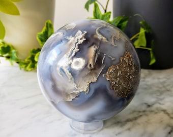 Agate Crystal Ball   Large Polished Gemstone Sphere   Banded Moss Agate Stone   Elemental Kingdom   Faery Crystals