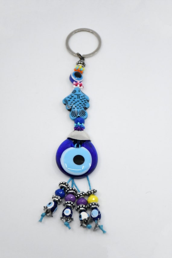 Hamsa Hand of Fatima Lucky Evil Blue Eye Nazar Keyring Free Post UK Silver Metal