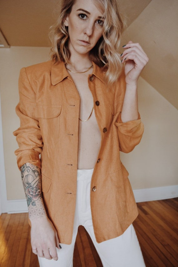 Womens Linen Jacket, Vintage Linen Jacket, Linen J