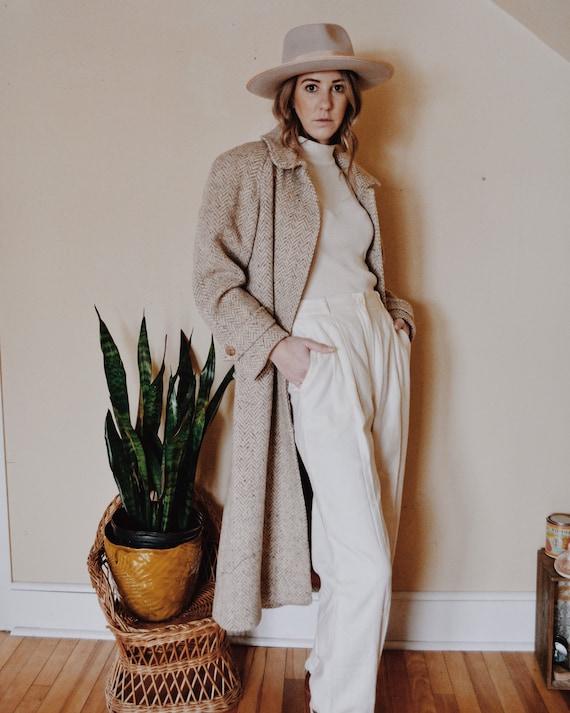 Herringbone Overcoat Coat, Vintage Overcoat, Overc