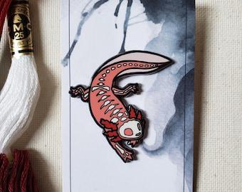 Axolotl, Anatomy Skeleton Hard Enamel Pin, Creepy and Cute Quirky Animal Skull Pin