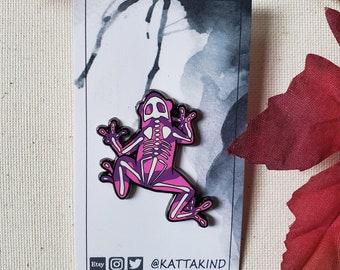 Poison Dart Frog, Anatomy Skeleton Hard Enamel Pin, Creepy and Cute Quirky Animal Pin