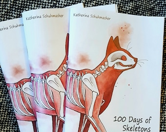 100 Days Of Skeletons, Art book zine, 28 pages of original drawings