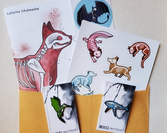 Small Blind Bag, Bargain Deal on Animal Skeleton art, pin and stickers! Gift idea for animal lovers, package, cat dog axolotl fox whale bird