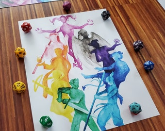 The Mighty Nein Print, Critical Role Watercolour Art Signed Fine Print