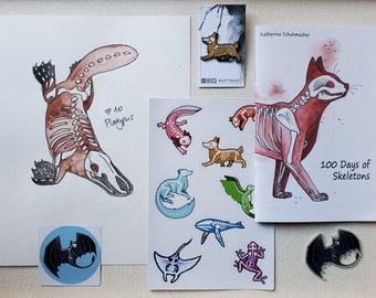 Large Blind Bag, Bargain Deal on Animal Skeleton art, pin and stickers! Gift idea for animal lovers, includes one of a kind original art