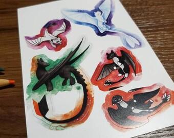 How To Train Your Dragon Sticker Sheet, httyd waterproof Toothless sticker, Nightfury, Lightfury nightlights