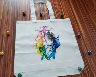 The Mighty Nein Tote Bag, Critical Role Watercolour Art Reusable Cloth Bag