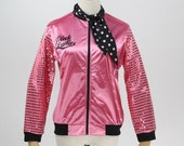 1950s Pink Ladies Sequin Long Sleeve Jacket With Polka Dot Scarf
