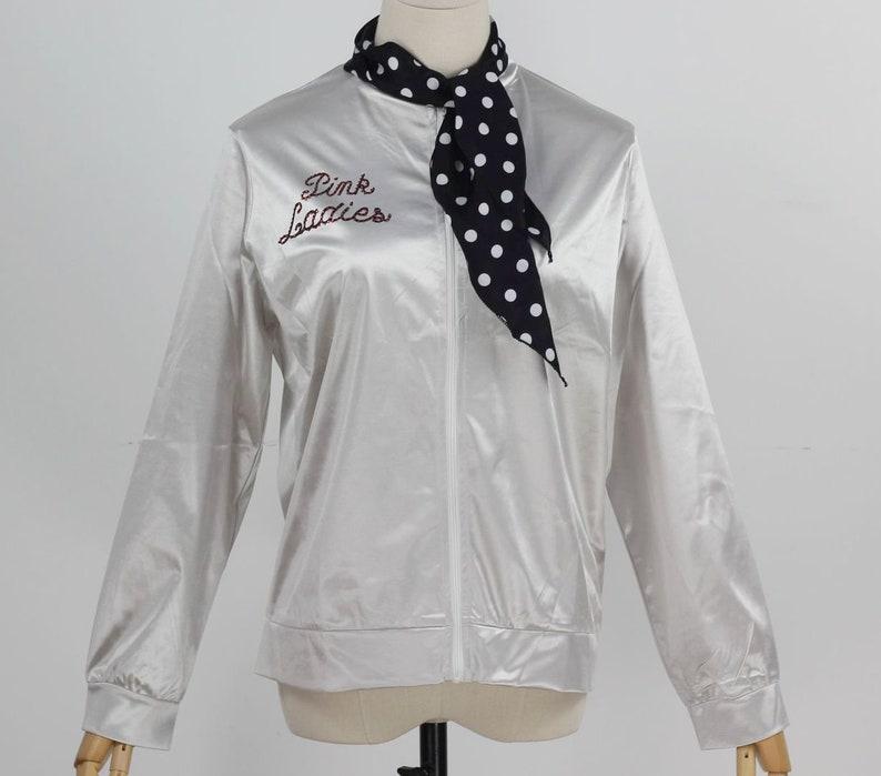 3de7dac183 Women 1950s Grease Pink Ladies T Bird Jacket Fancy Costume