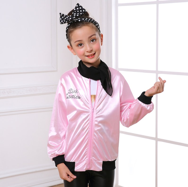 174489af3c Child Pink Ladies Jacket 50S Grease T-Bird Costume with Scarf