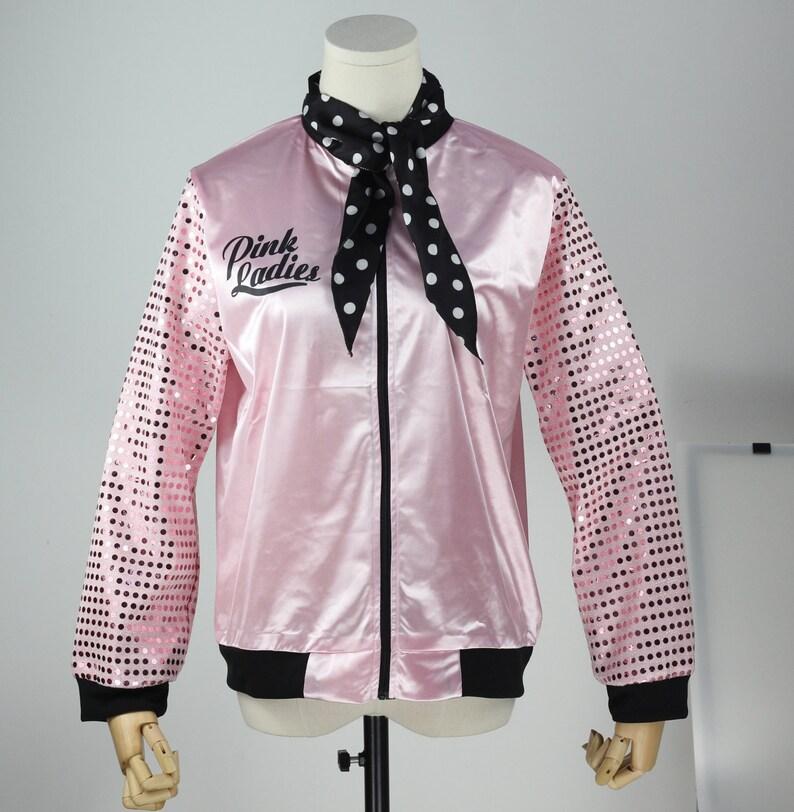 eaa726dca3 Retro Classic 1950s Women Sequins Pink Ladies Long Sleeve Tops