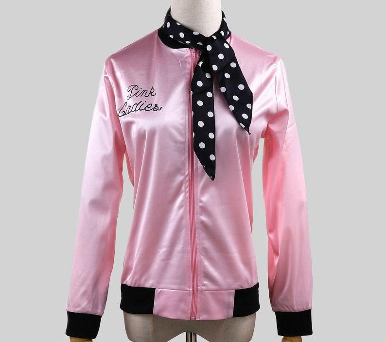Ladies Fashion Grease Pink Jacket Women/'s Satin JACKET Party Fancy Dress S-2XL
