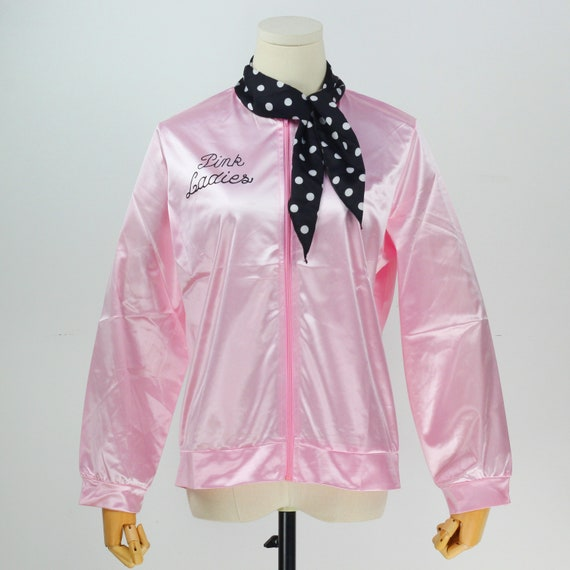Retro 1950s Pink Ladies Jacket Costume TShirt Party Fancy Dress Size
