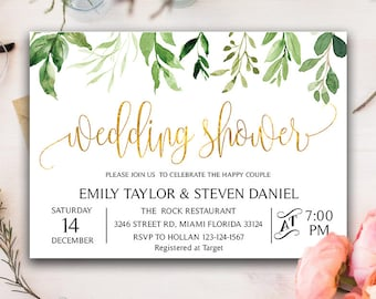 greenery wedding shower invitation bridal shower invite floral bridal shower card msk_004_gold instant download diy printable editable