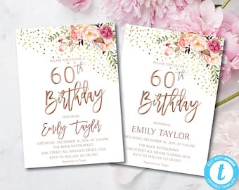60th Birthday Boho Floral Party Invitation Flowers Invitations