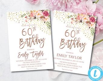 60th Birthday Boho Floral Party Invitation Flowers Invitations
