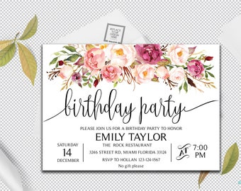 boho floral birthday party invitation floral birthday etsy