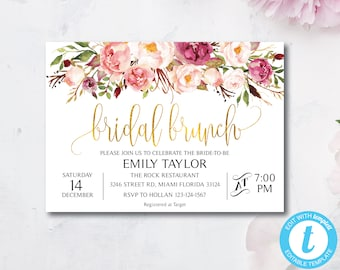 bridal luncheon invitations etsy