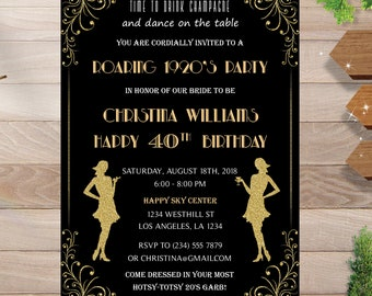 roaring 20s bridal shower invitation great gatsby bridal shower invitation flapper bridal shower instant download diy printable editable
