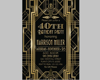 Gatsby Invitation Etsy