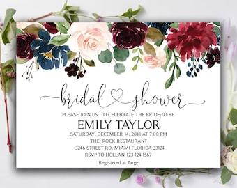 Floral bridal shower etsy floral bridal shower invitation fall bridal shower template bridal shower card flowers 07 instant download diy printable editable filmwisefo
