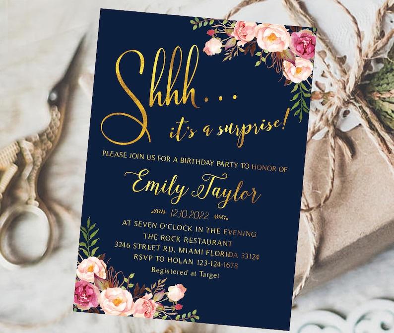 Boho Floral Surprise Birthday Invitation Templett Instant Download DIY Printable Editable Shhh It/'s a Surprise Birthday Party Invitation